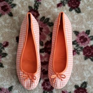 Zara Orange White Checkered Loafers